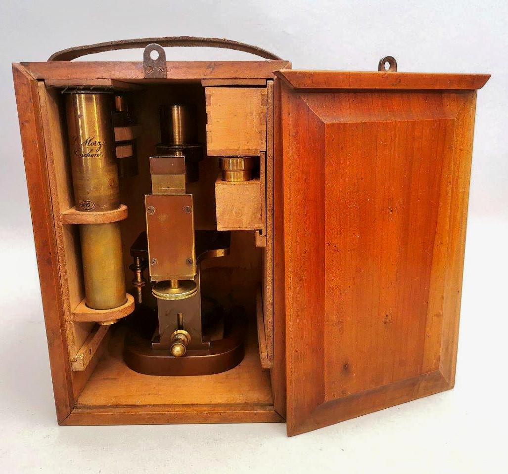 Rare German 19th Century microscope  signed  G.& S. Merz in Munchen  N° 1093