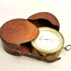 Antique travelling  aneroid barometer Signed