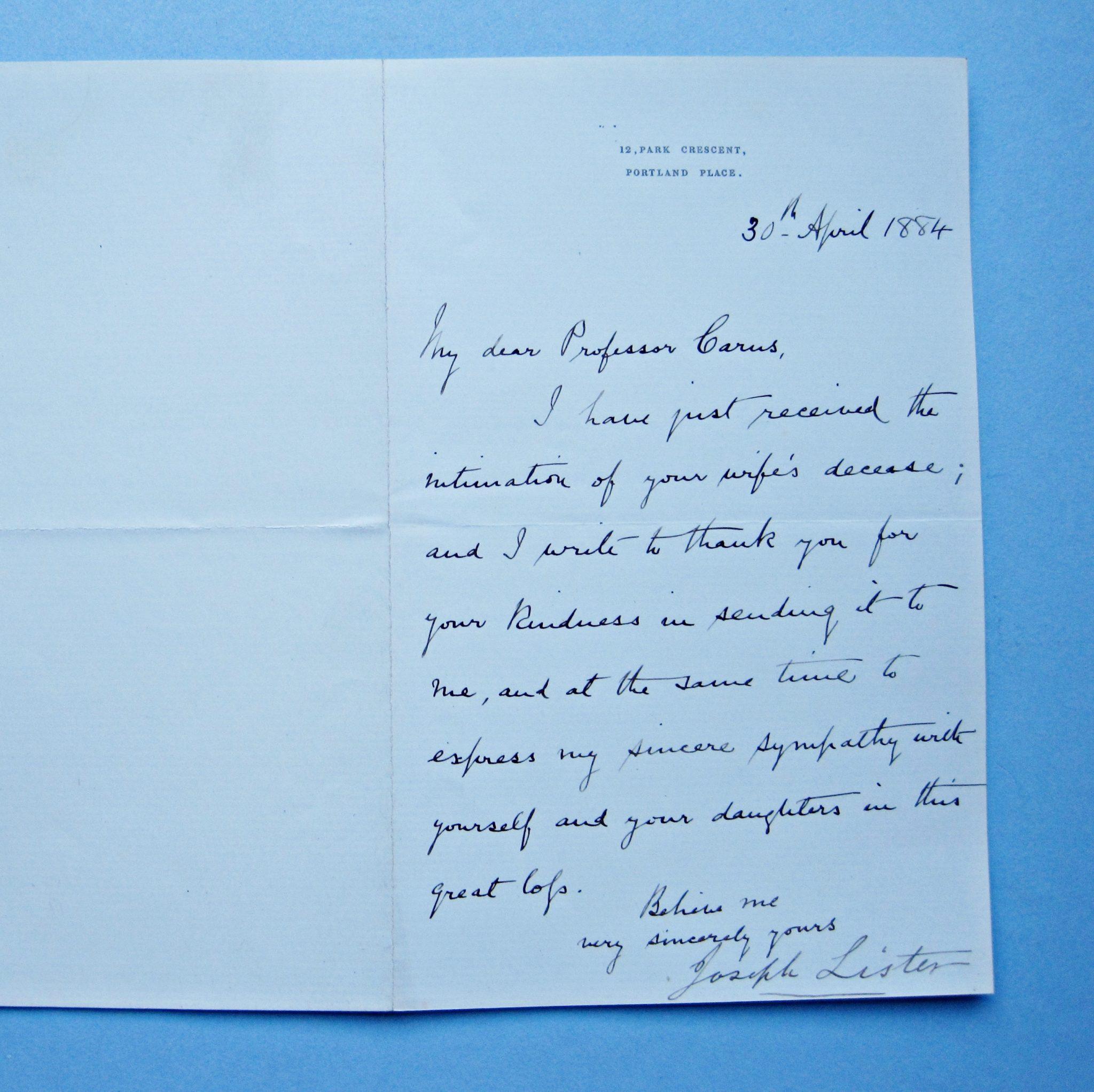 Joseph Lister:  Autographed Letter to Prof. J.V. Carus