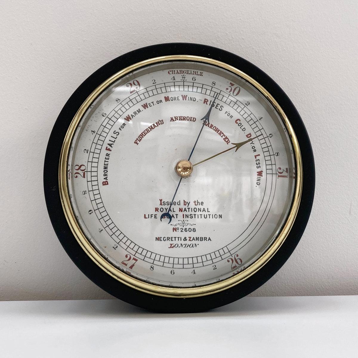 Victorian RNLI Fishermans Aneroid Barometer by Negretti & Zambra London – N0 2608