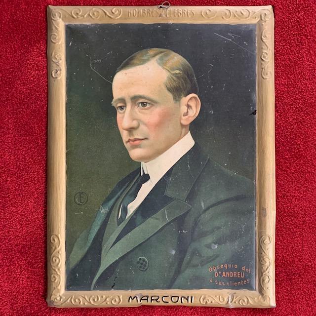 A rare Italian litograph on metal panel with Guglielmo Marconi, ca. 1930's