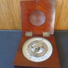 Travel compass sundial in mahogany case