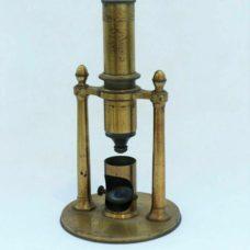 A rare double pillar French microscope, circa 1840-1850s'