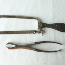 Small Amputation Saw & Forceps K Kumerle Freiburg German Surgical Instruments