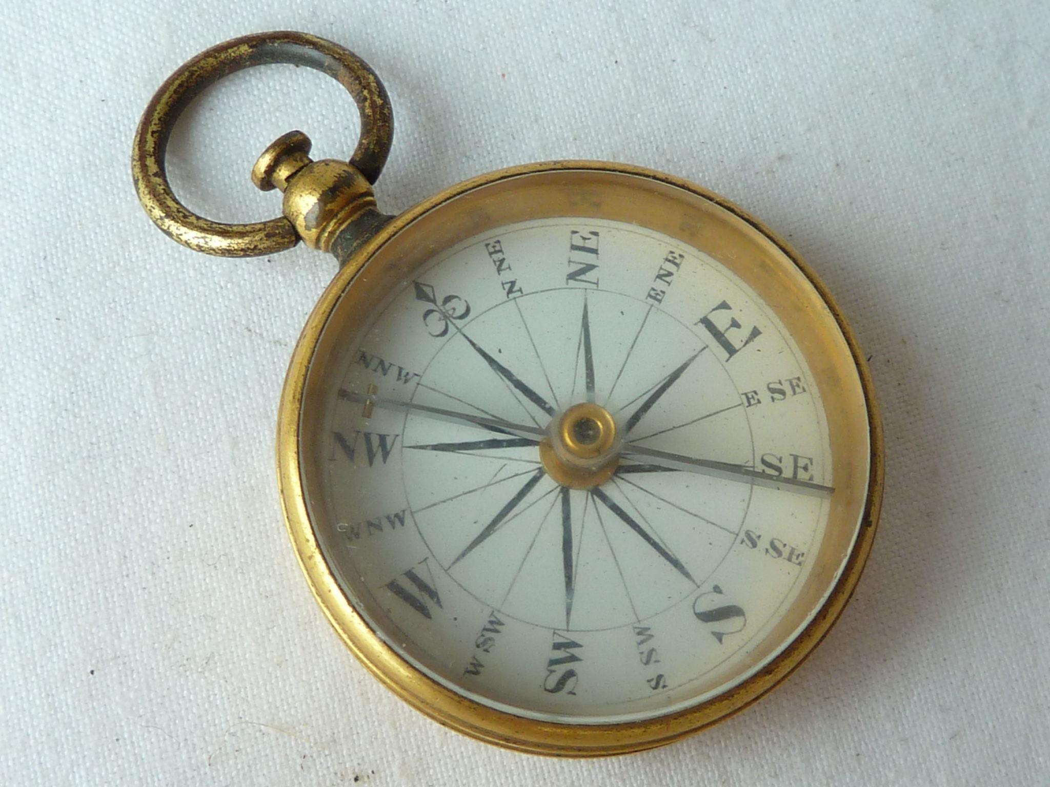 Georgian Gilt Brass Pocket Pendant Magnetic Compass Enamel Dial Antique