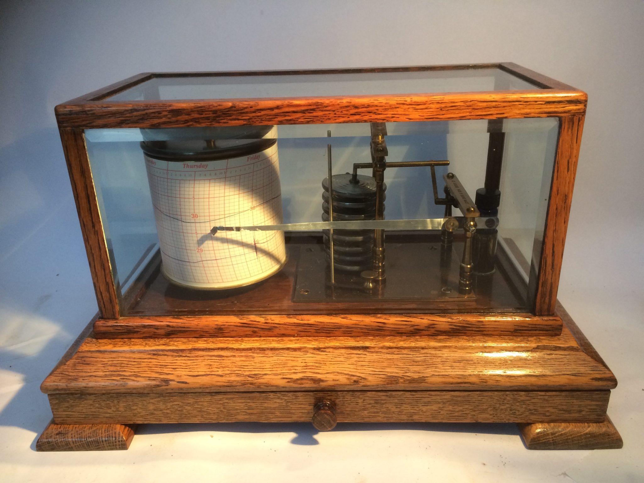 Oak Barograph with Bevel Glass,Chart Drawer,Ink Bottle & Charts by  J Davis & Son Derby