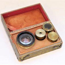 Three botanical microscopes set in case, France, circa 1830